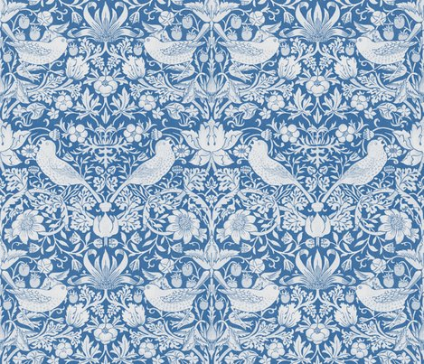 William Morris Strawberry Thief Blue Amp White Wallpaper