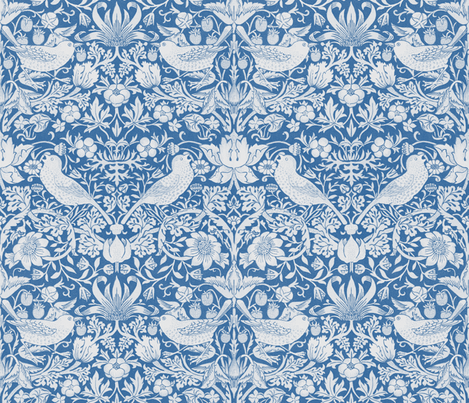 William Morris ~ Strawberry Thief ~ Blue & White fabric by peacoquettedesigns on Spoonflower - custom fabric