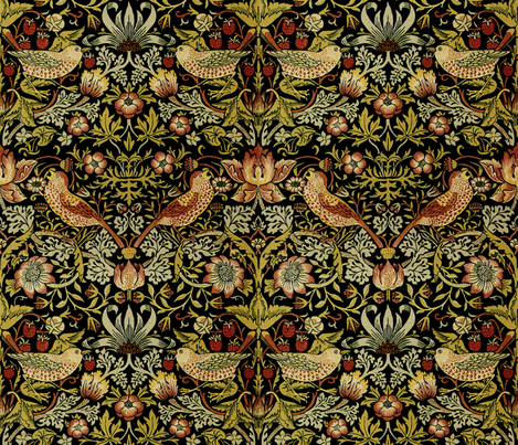 William Morris ~ Strawberry Thief ~ Intense fabric by peacoquettedesigns on Spoonflower - custom fabric