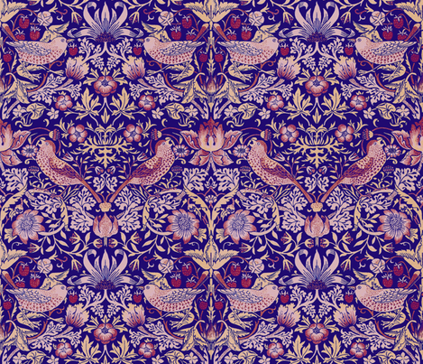 William Morris ~ Strawberry Thief ~ Violet fabric by peacoquettedesigns on Spoonflower - custom fabric