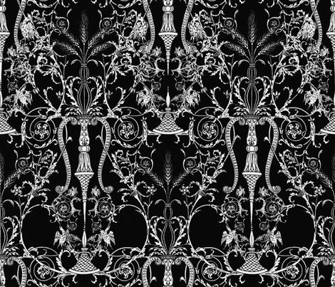Lady Mary's Bedroom ~ Black &amp; White fabric by peacoquettedesigns on Spoonflower - custom fabric