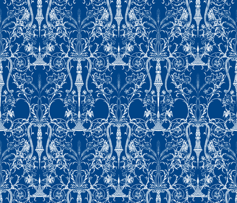 Lady Mary's Bedroom ~ Blue & White fabric by peacoquettedesigns on Spoonflower - custom fabric
