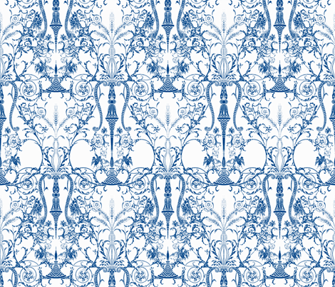 Lady Mary's Bedroom ~ White & Blue fabric by peacoquettedesigns on Spoonflower - custom fabric