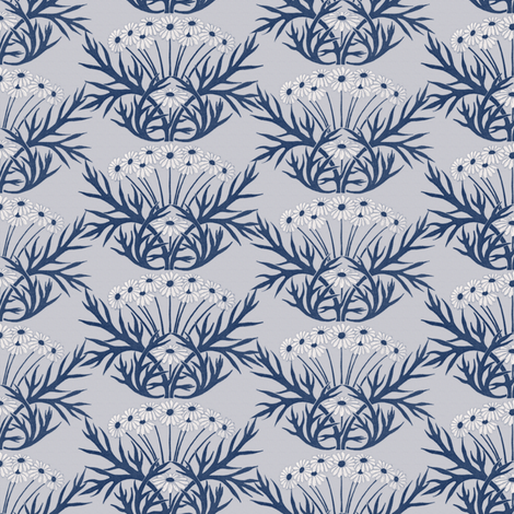 Art Nouveau Daisies ~ Blue fabric by peacoquettedesigns on Spoonflower - custom fabric