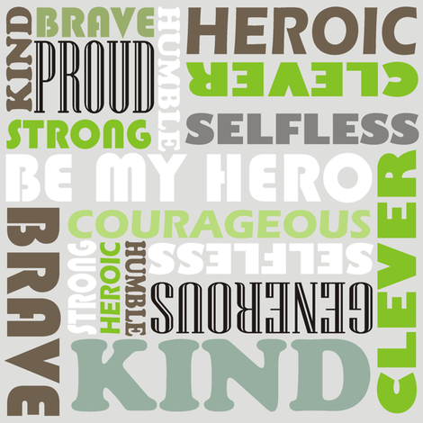 Heroic words fabric by smuk on Spoonflower - custom fabric