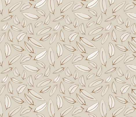 Wind Blown Leaves Tan fabric by wildnotions on Spoonflower - custom fabric
