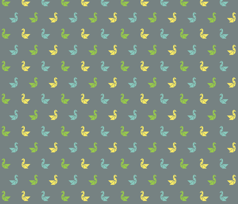 Tangram birds in lime, lemon and aqua on charcoal fabric by little_fish on Spoonflower - custom fabric