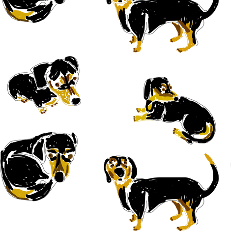 Chocolate Chip Dachsunds fabric by amandasaurus on Spoonflower - custom fabric