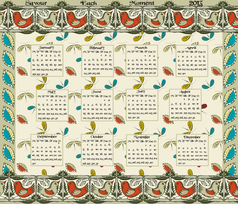 Savour Each Moment ...2013 fabric by wednesdaysgirl on Spoonflower - custom fabric