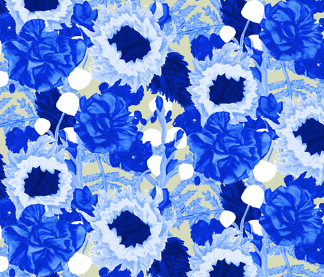 Blue Bouquet fabric by horn&ivory on Spoonflower - custom fabric