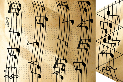 A Year Of Music Tea Towel Calendar 2015 fabric by onestitchdesigns on Spoonflower - custom fabric