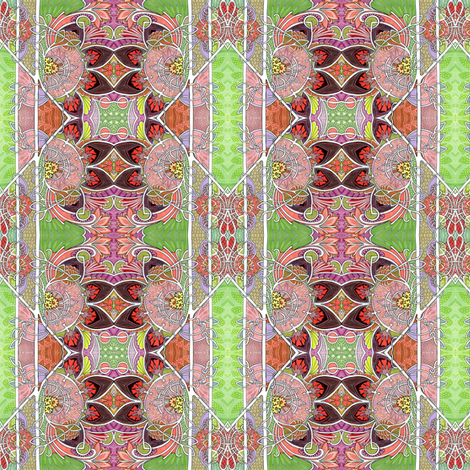 I Smell Spring (feminine art deco vertical stripe) fabric by edsel2084 on Spoonflower - custom fabric