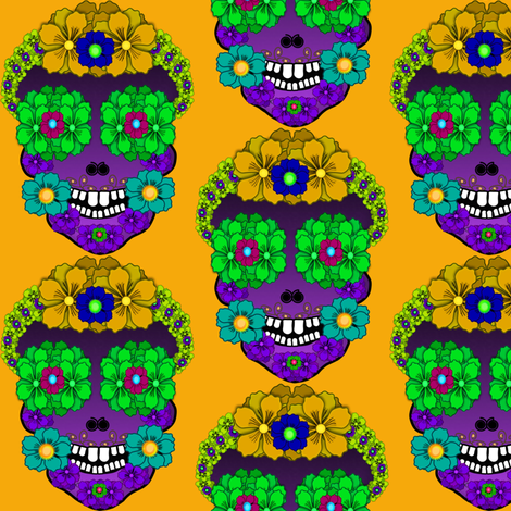 Flower Skull fabric by boneyfied on Spoonflower - custom fabric