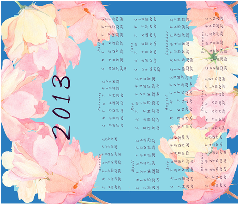 Cosmos calendar 2013 fabric by deepcoveflowers on Spoonflower - custom fabric