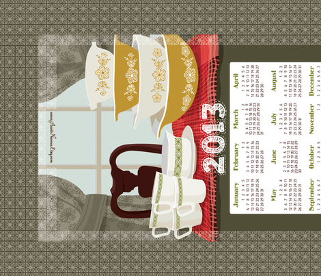 "2013 Calendar Towel - Pyrex Still Life 27x18"" fabric by richardcreative on Spoonflower - custom fabric"