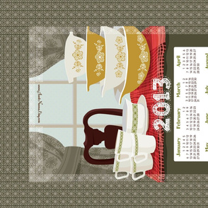 "2013 Calendar Towel - Pyrex Still Life 27x18"""