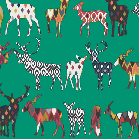 peacock green spice deer fabric by scrummy on Spoonflower - custom fabric