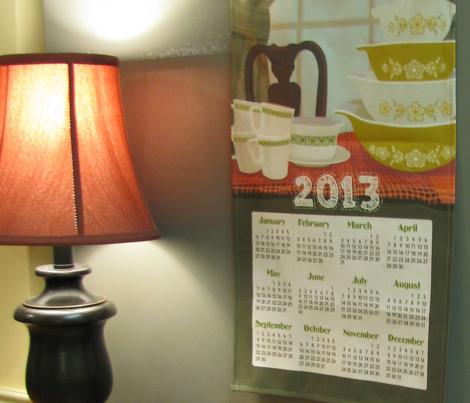 "2013 Calendar Towel - Pyrex Still Life 21x18"""