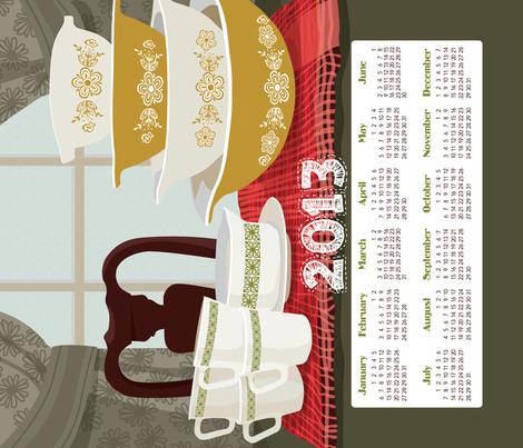 "2013 Calendar Towel - Pyrex Still Life 21x18"" fabric by richardcreative on Spoonflower - custom fabric"