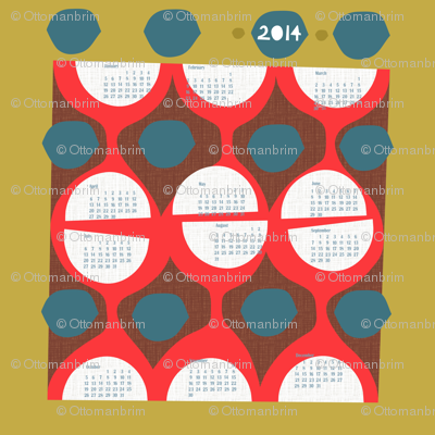 2014 retro calendar-large wall decal