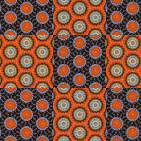 Pumpkin Pie Flowers Checkerboard fabric by dovetail_designs on Spoonflower - custom fabric