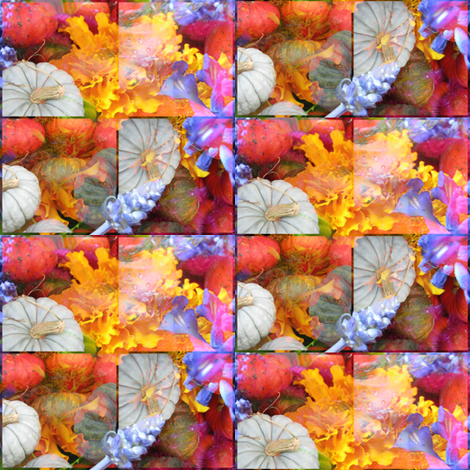 Pumpkins and Fall Flowers 3 fabric by dovetail_designs on Spoonflower - custom fabric