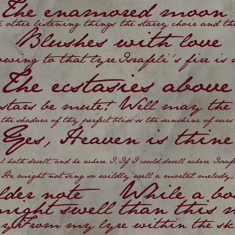 Edgar Allan Poe ~ Israfel ~ Poem in Blood Red on Parchment fabric by peacoquettedesigns on Spoonflower - custom fabric