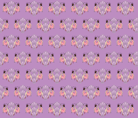 Fancy flapper girls-brunette-purple fabric by emmav on Spoonflower - custom fabric