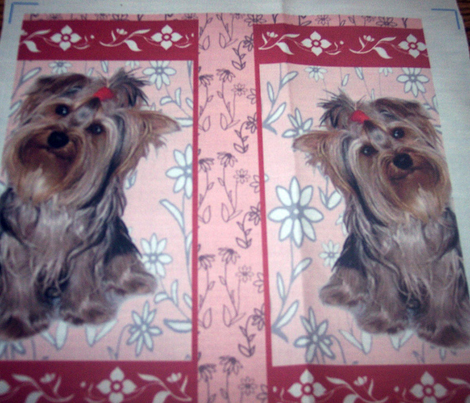 Yorkshire terrier cheater crib quilt
