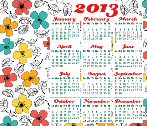 Flowers calendar fabric by valmo on Spoonflower - custom fabric