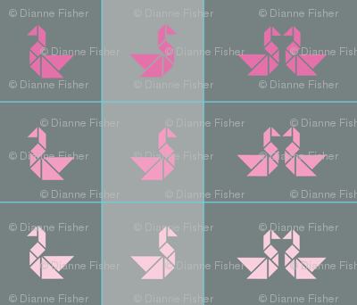 Tangram swan cushions fronts in pinks