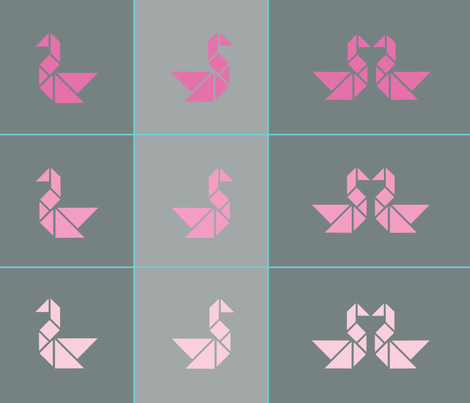 Tangram swan cushions fronts in pinks fabric by little_fish on Spoonflower - custom fabric