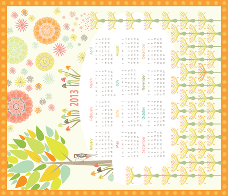 2013 Woodpecker Meadow Calendar fabric by kayajoy on Spoonflower - custom fabric