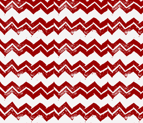 Chevron - Hand-carved stamps - Red/White fabric by owlandchickadee on Spoonflower - custom fabric