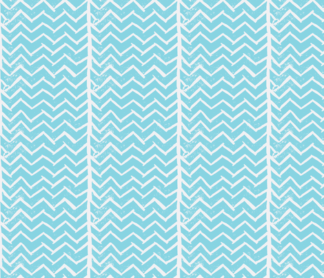 Chevron - Hand Carved Stamp - Sky fabric by owlandchickadee on Spoonflower - custom fabric