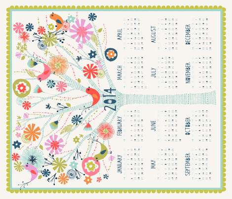 2014 Pretty Tree Calendar fabric by bethan_janine on Spoonflower - custom fabric
