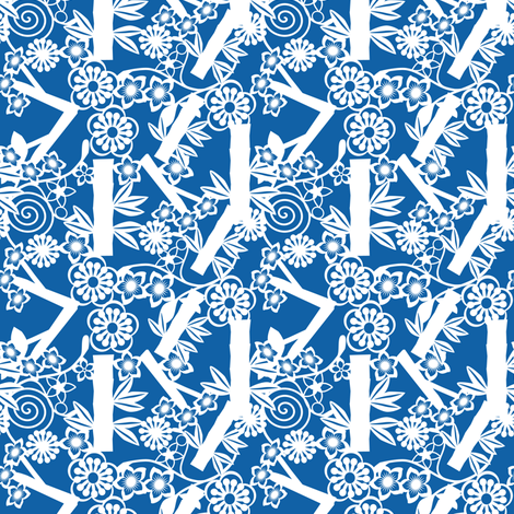 chinese floral paper cutting  blue fabric by anino on Spoonflower - custom fabric