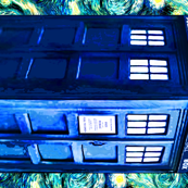 Starry Night TARDIS Doctor Who Inspired (for fat quarter, tea towel size)