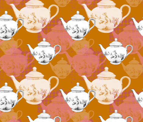 Teapots on a Field of orange and pink fabric by joanna_oh! on Spoonflower - custom fabric