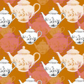 Teapots on a Field of orange and pink