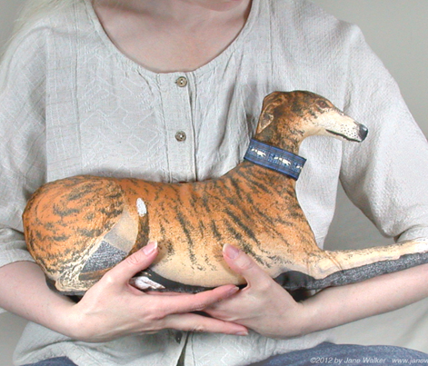 Greyhound Stuffie Panel -  Red Fawn Brindle Spots Male