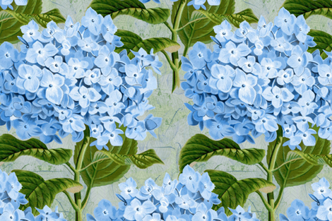 Hydrangea on skeleton leaves fabric by linsart on Spoonflower - custom fabric