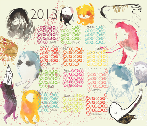 Monster 2013 Calendar fabric by benconservato on Spoonflower - custom fabric