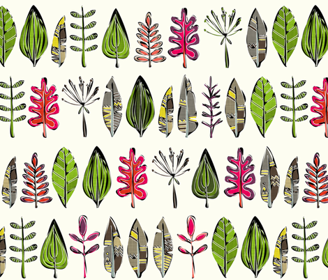 leaves and feathers fabric by scrummy on Spoonflower - custom fabric