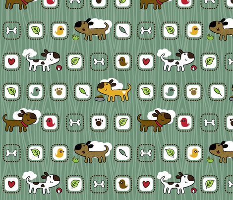 RD_BestBuddy_dogs_blue fabric by tradewind_creative on Spoonflower - custom fabric