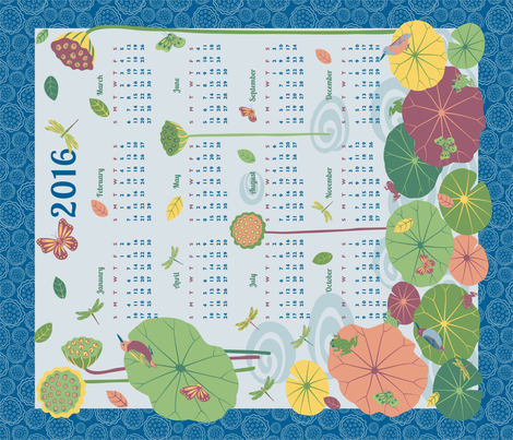 Life in the Lotus Pond 2016 Tea Towel Calendar fabric by gracedesign on Spoonflower - custom fabric