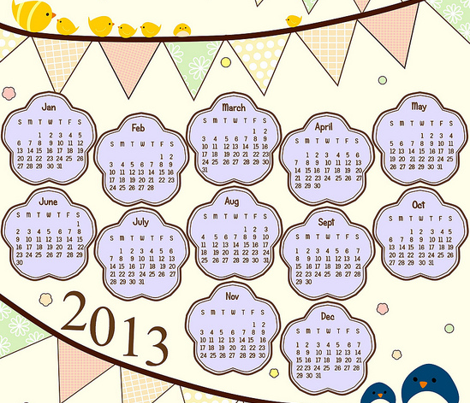 Happy Bunting 2013 Calendar