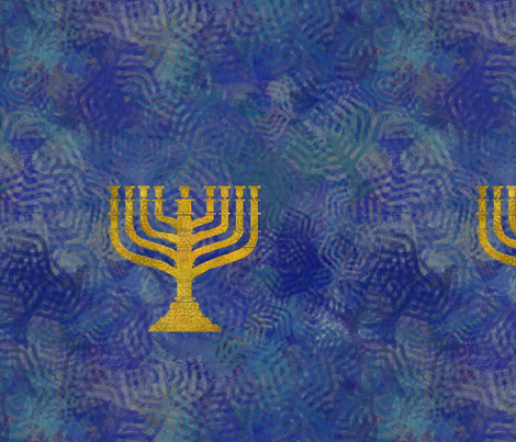 Menorah -  blue  fabric by wren_leyland on Spoonflower - custom fabric