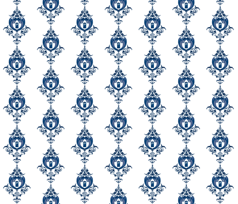 Doctor_Damask_1_large- dk blue fabric by morrigoon on Spoonflower - custom fabric