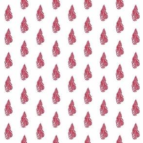 Curled Fern Red- half drop